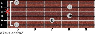 A7sus add(m2) for guitar on frets 5, 7, 8, x, 8, 5
