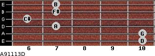 A9/11/13/D for guitar on frets 10, 10, 7, 6, 7, 7