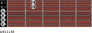 A9/11/13/E for guitar on frets 0, 0, 0, 0, 2, 2