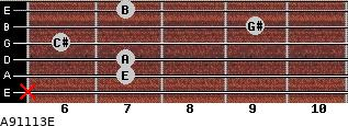 A9\11\13\E for guitar on frets x, 7, 7, 6, 9, 7