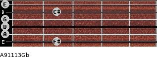 A9/11/13/Gb for guitar on frets 2, 0, 0, 0, 2, 0