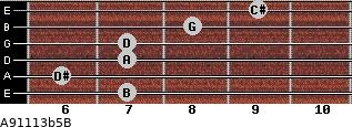 A9/11/13b5/B for guitar on frets 7, 6, 7, 7, 8, 9