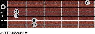 A9\11\13b5sus\F# for guitar on frets 2, 2, 1, 1, 0, 5