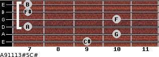 A9/11/13#5/C# for guitar on frets 9, 10, 7, 10, 7, 7