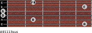 A9/11/13sus for guitar on frets 5, 2, 0, 0, 5, 2