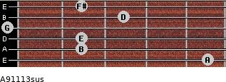 A9/11/13sus for guitar on frets 5, 2, 2, 0, 3, 2