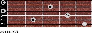 A9/11/13sus for guitar on frets 5, 2, 4, 0, 3, 0
