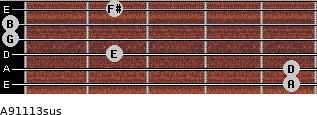 A9/11/13sus for guitar on frets 5, 5, 2, 0, 0, 2