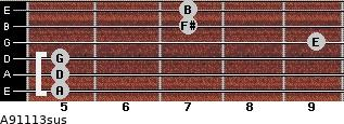 A9/11/13sus for guitar on frets 5, 5, 5, 9, 7, 7