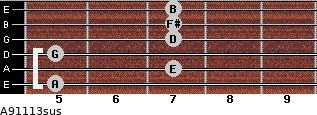 A9/11/13sus for guitar on frets 5, 7, 5, 7, 7, 7