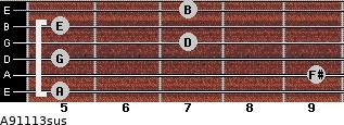 A9/11/13sus for guitar on frets 5, 9, 5, 7, 5, 7