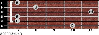 A9/11/13sus/D for guitar on frets 10, 7, 7, 11, 8, 7