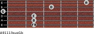 A9/11/13sus/Gb for guitar on frets 2, 2, 2, 0, 3, 5