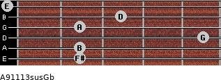 A9/11/13sus/Gb for guitar on frets 2, 2, 5, 2, 3, 0