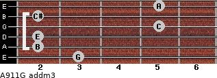 A9/11/G add(m3) for guitar on frets 3, 2, 2, 5, 2, 5
