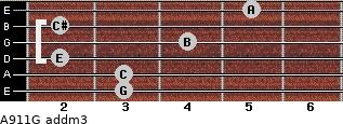 A9/11/G add(m3) for guitar on frets 3, 3, 2, 4, 2, 5