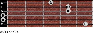 A9/11b5sus for guitar on frets 5, 0, 0, 4, 4, 3