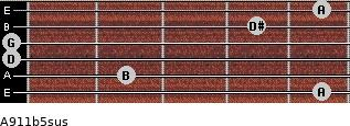 A9/11b5sus for guitar on frets 5, 2, 0, 0, 4, 5