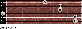 A9/11b5sus for guitar on frets 5, 5, 0, 4, 4, 3