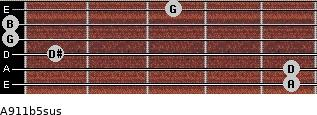 A9/11b5sus for guitar on frets 5, 5, 1, 0, 0, 3