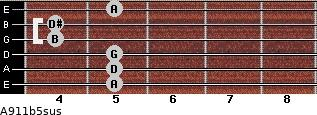 A9/11b5sus for guitar on frets 5, 5, 5, 4, 4, 5