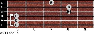 A9/11b5sus for guitar on frets 5, 5, 5, 8, 8, 7