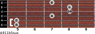 A9/11b5sus for guitar on frets 5, 5, 7, 8, 8, 7