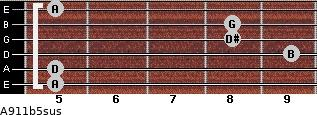 A9/11b5sus for guitar on frets 5, 5, 9, 8, 8, 5