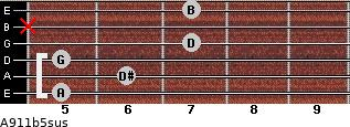A9/11b5sus for guitar on frets 5, 6, 5, 7, x, 7