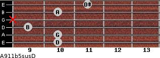 A9/11b5sus/D for guitar on frets 10, 10, 9, x, 10, 11