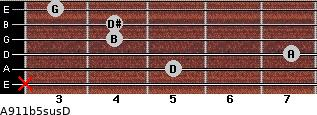 A9/11b5sus/D for guitar on frets x, 5, 7, 4, 4, 3