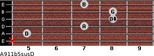 A9/11b5sus/D for guitar on frets x, 5, 7, 8, 8, 7