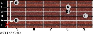 A9/11b5sus/D for guitar on frets x, 5, 9, 8, 8, 5