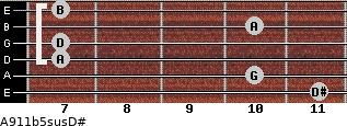 A9/11b5sus/D# for guitar on frets 11, 10, 7, 7, 10, 7
