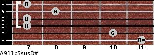 A9/11b5sus/D# for guitar on frets 11, 10, 7, 7, 8, 7