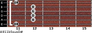 A9/11b5sus/D# for guitar on frets 11, 12, 12, 12, 12, 11