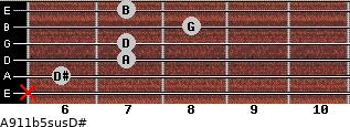 A9/11b5sus/D# for guitar on frets x, 6, 7, 7, 8, 7