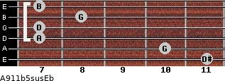 A9/11b5sus/Eb for guitar on frets 11, 10, 7, 7, 8, 7