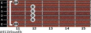 A9/11b5sus/Eb for guitar on frets 11, 12, 12, 12, 12, 11