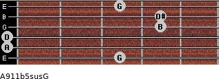 A9/11b5sus/G for guitar on frets 3, 0, 0, 4, 4, 3