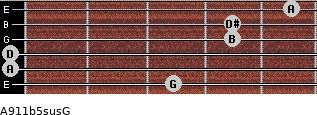 A9/11b5sus/G for guitar on frets 3, 0, 0, 4, 4, 5