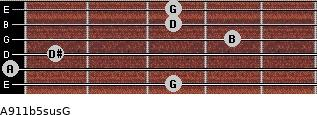 A9/11b5sus/G for guitar on frets 3, 0, 1, 4, 3, 3