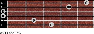 A9/11b5sus/G for guitar on frets 3, 2, 0, 0, 4, 5