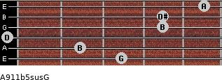 A9/11b5sus/G for guitar on frets 3, 2, 0, 4, 4, 5