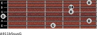 A9/11b5sus/G for guitar on frets 3, 5, 0, 4, 4, 5