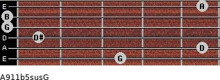 A9/11b5sus/G for guitar on frets 3, 5, 1, 0, 0, 5