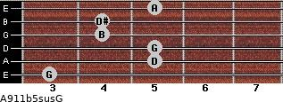 A9/11b5sus/G for guitar on frets 3, 5, 5, 4, 4, 5