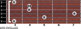 A9/11b5sus/G for guitar on frets 3, 5, 7, 4, 4, 3