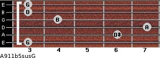 A9/11b5sus/G for guitar on frets 3, 6, 7, 4, 3, 3