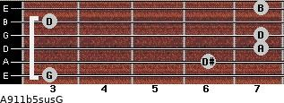 A9/11b5sus/G for guitar on frets 3, 6, 7, 7, 3, 7